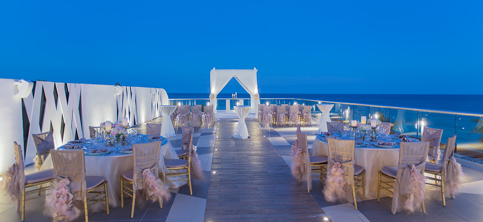 Beach palace skydeck wedding